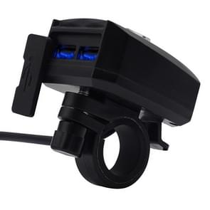 Motorcycle Waterproof 10-80V 2.4A Dual USB Fast Charger Adapter
