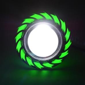 Motorcycle 30W DC 12V-85V LED Headlight with Whirlwind Angle Eyes Double Light Lens Built-in Devil Eye(Green Light)