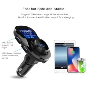 Wireless Bluetooth FM Transmitter Radio Adapter Car Charger, with 1.4 inch LCD Display, Music Player Support TF Card USB Flash Drive AUX Output for Smartphones(Black)