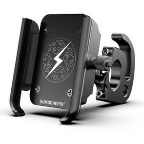 Motorfiets aluminium legering mobiele telefoon beugel met haak  geschikt voor 4-6 5 inch telefoons (Zwart)