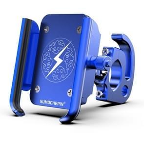 Motorfiets aluminium legering mobiele telefoon beugel met haak  geschikt voor 4-6 5 inch telefoons (Blauw)