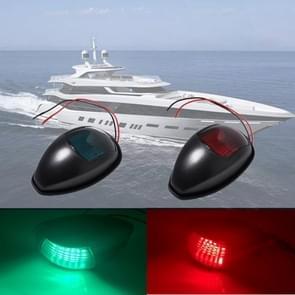2 PCS DC10-30V 2W IP66 Marine Boat LED Navigation Lights Black Housings Port Starboard Red & Green Side Light