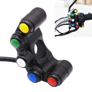 Motorfiets koplamp ondersteunende licht hoorn Switches aluminiumlegering vijf-positie kraan Switches met licht