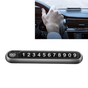 Verborgen nummer metalen auto tijdelijke parkeerplaat parkeerkaart (grijs)