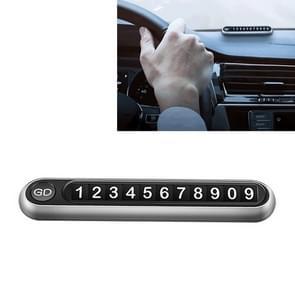 Verborgen nummer metalen auto tijdelijke parkeerplaat parkeerkaart (Zilver)