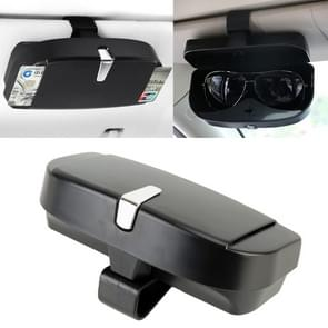 Car Multi-functional Glasses Case Sunglasses Box with Card Slot, Flat Style (Black)