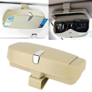 Car Multi-functional Glasses Case Sunglasses Box with Card Slot, Flat Style (Beige)