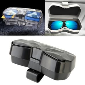 Car Multi-functional Glasses Case Sunglasses Storage Holder with Card Slot, Diamond Style (Black)