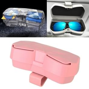 Car Multi-functional Glasses Case Sunglasses Storage Holder with Card Slot, Diamond Style (Pink)