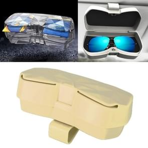 Car Multi-functional Glasses Case Sunglasses Storage Holder with Card Slot, Diamond Style (Beige)
