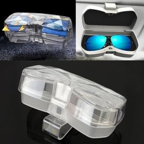 Car Multi-functional Glasses Case Sunglasses Storage Holder with Card Slot, Diamond Style (Transparent)