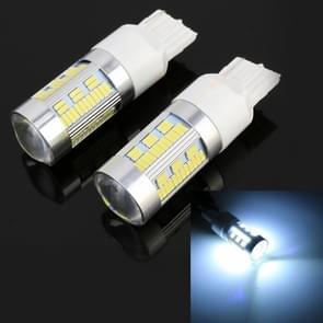 2 stuks T20/7440 DC12-24V 21W auto turn Light 105LEDs SMD-4014 lampen  met decoder (wit licht)
