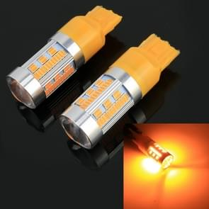 2 PCS T20 / 7440 DC12-24V 21W Auto Zet licht 105LEDs SMD-4014 Lampen  met decoder (Geel Licht)