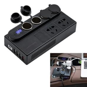 200W DC 12V/24V naar AC 220V auto multifunctionele 6388 sine wave Power Inverter 4 USB-poorten QC 3.0 snellader adapter