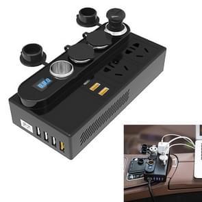 200W DC 12V/24V naar AC 220V auto multifunctionele 7288 correctie Wave Power Inverter 6 USB-poorten QC 3.0 snellader adapter