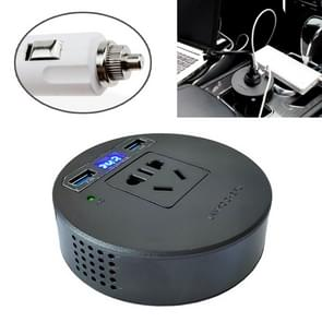 120W DC 12V naar AC 220V auto multi-functionele sinus omvormer 2 USB-poorten lader adapter (zwart)