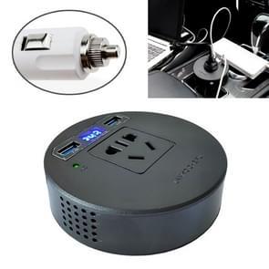 60W/120W DC 12V-24V naar AC 220V auto multi-functionele sinus omvormer 2 USB-poorten lader adapter (zwart)