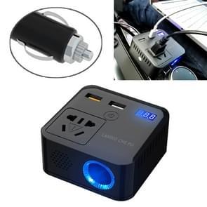 150W DC 12V-24V naar AC 220V auto multi-functionele sinus omvormer 2 USB-poorten lader adapter (zwart)