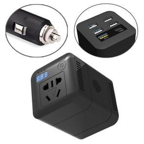 150W DC 12V-24V naar AC 220V auto multi-functionele correctie Wave Power Inverter 5 USB-poorten lader adapter (zwart)
