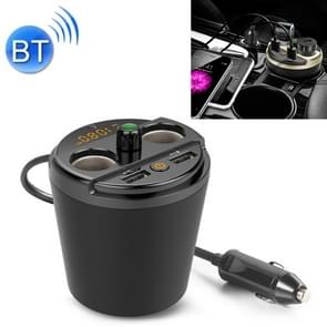 401E Car MP3 Bluetooth Player FM Zender met 2 Socket Cigarette Lighter Splitter 2 x USB Charger (Zwart)