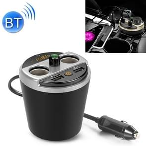 401E Auto MP3 Bluetooth Player FM Zender met 2 Socket Cigarette Lighter Splitter 2 x USB Charger (Grijs)