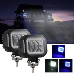 2 PCS Car 4 inch Square Spotlight Work Light met Angel Eyes (Blauw Licht)