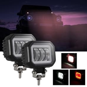 2 PCS Car 4 inch Square Spotlight Work Light met Angel Eyes (Red Light)