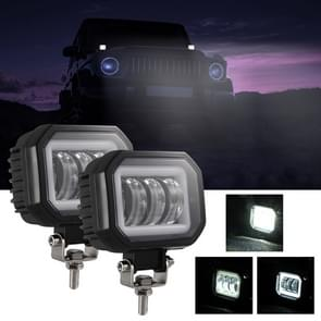 2 PCS Car 4 inch Square Spotlight Work Light met Angel Eyes (White Light)
