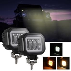 2 PCS Car 4 inch Square Spotlight Werk licht met Angel Eyes (Geel Licht)