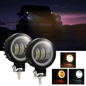 2 PCS Car 4 inch Round Spotlight Werk Licht met Angel Eyes (Geel Licht)