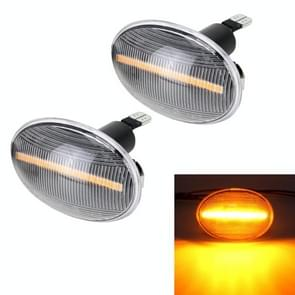 2 PCS DC12V / 3W Car LED Dynamic Blinker Side Lights Stromend water draaisignaal licht voor BMW Mini Cooper  Amber Light (Transparant)