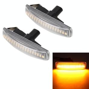 2 PCS DC12V / 3W Car LED Dynamic Blinker Side Lights Stromend water richting signaal licht voor Land Rover  Amber Light (Transparant)