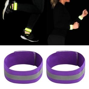 Reflecterende Band Outdoor Sports Running Cycling Night Warning Wrist Band (Paars)