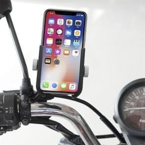 Motorcycle Aluminium Alloy Quick Release Mobile Phone Holder Bracket, Rearview Mirror Version (Black)