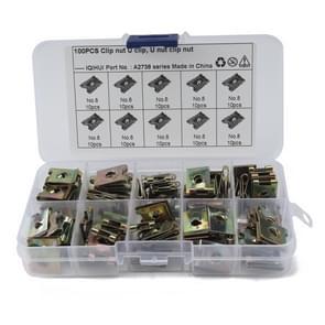 100 PCS U Nut Kit Spire Clips No.8 Zink Snelheid Bevestigingsmiddelen Lug Noten
