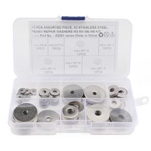 70 STKS ronde vorm RVS platte wasmachine geassorteerde Kit voor auto/boot/Home apparaat