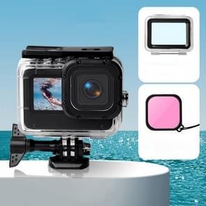 Waterproof Case + Touch Back Cover + Color Lens Filter voor GoPro HERO9 Black (Roze)