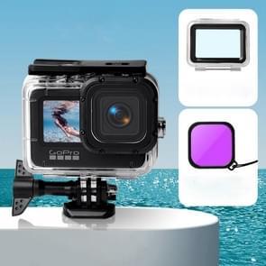 Waterproof Case + Touch Back Cover + Color Lens Filter voor GoPro HERO9 Black (Paars)