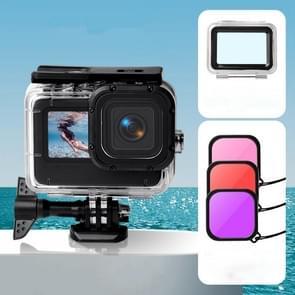 Waterproof Case + Touch Back Cover + Paars rood roze lensfilter voor GoPro HERO9 Zwart