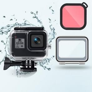 45m waterproof case + Touch Back Cover + Color Lens Filter voor GoPro HERO8 Black (Roze)