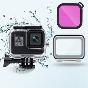45m waterdichte behuizing + Touch Back Cover + Color Lens Filter voor GoPro HERO8 Black (Paars)