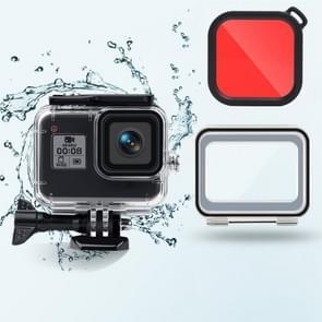 45m waterdichte behuizing + Touch Back Cover + Color Lens Filter voor GoPro HERO8 Zwart (Rood)