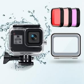 45m waterdichte behuizing + Touch Back Cover + Paars rood roze lensfilter voor GoPro HERO8 Zwart