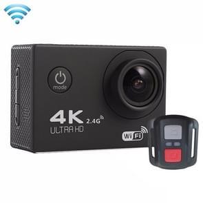 F60R 2.0 inch scherm 4 K 170 graden breed hoek WiFi Sport actie Camera Camcorder ontmoet huisvesting Waterdicht hoesje & Remote Controller  ondersteuning van 64 GB Micro SD Card(zwart)