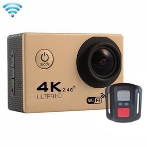 F60R 2.0 inch scherm 4 K 170 graden breed hoek WiFi Sport actie Camera Camcorder ontmoet huisvesting Waterdicht hoesje & Remote Controller  ondersteuning van 64 GB Micro SD Card(Goud)
