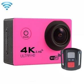 F60R 2.0 inch scherm 4 K 170 graden breed hoek WiFi Sport actie Camera Camcorder ontmoet huisvesting Waterdicht hoesje & Remote Controller  ondersteuning van 64 GB Micro SD kaart (hard roze)