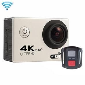 F60R 2.0 inch scherm 4 K 170 graden breed hoek WiFi Sport actie Camera Camcorder ontmoet huisvesting Waterdicht hoesje & Remote Controller  ondersteuning van 64 GB Micro SD Card(zilver)