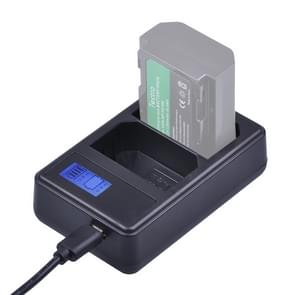 Dual Channel Digitaal LCD Display acculader met een USB-poort voor Sony NP-FZ100 batterij  compatibel met Sony A9 (ILCE-9)