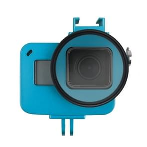Housing Shell CNC Aluminum Alloy Protective Cage with Insurance Frame & 52mm UV Lens for GoPro HERO7 Black /6 /5 (Blue)