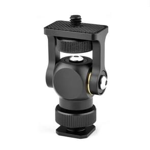 YELANGU 180 Degree Swing Mini Tripod Ball Head Bracket Cold Shoe Mount 1/4 inch Screw Adapter(Black)